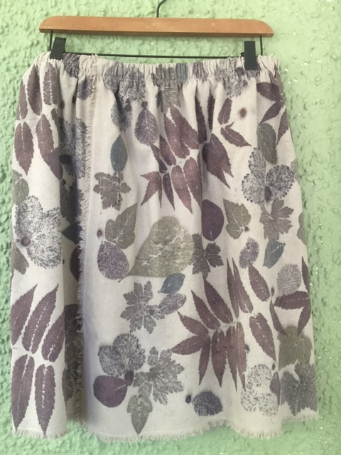 Silk noil skirt, eco printed.