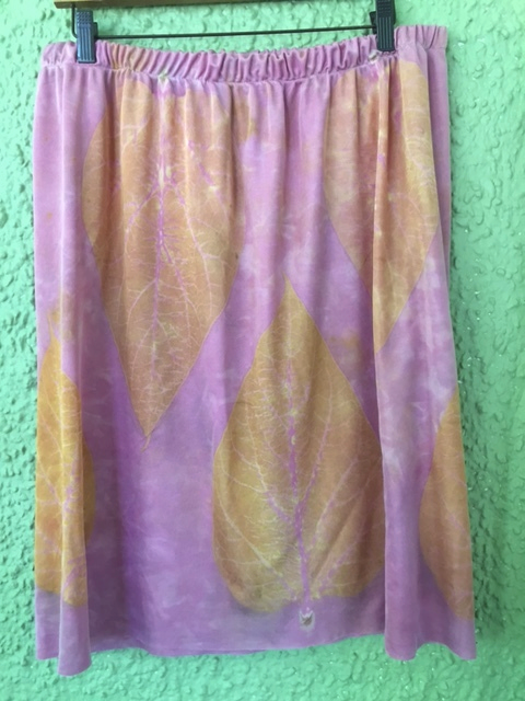 Silk jersey skirt, dyed in cochineal, printed with catalpa leaves.