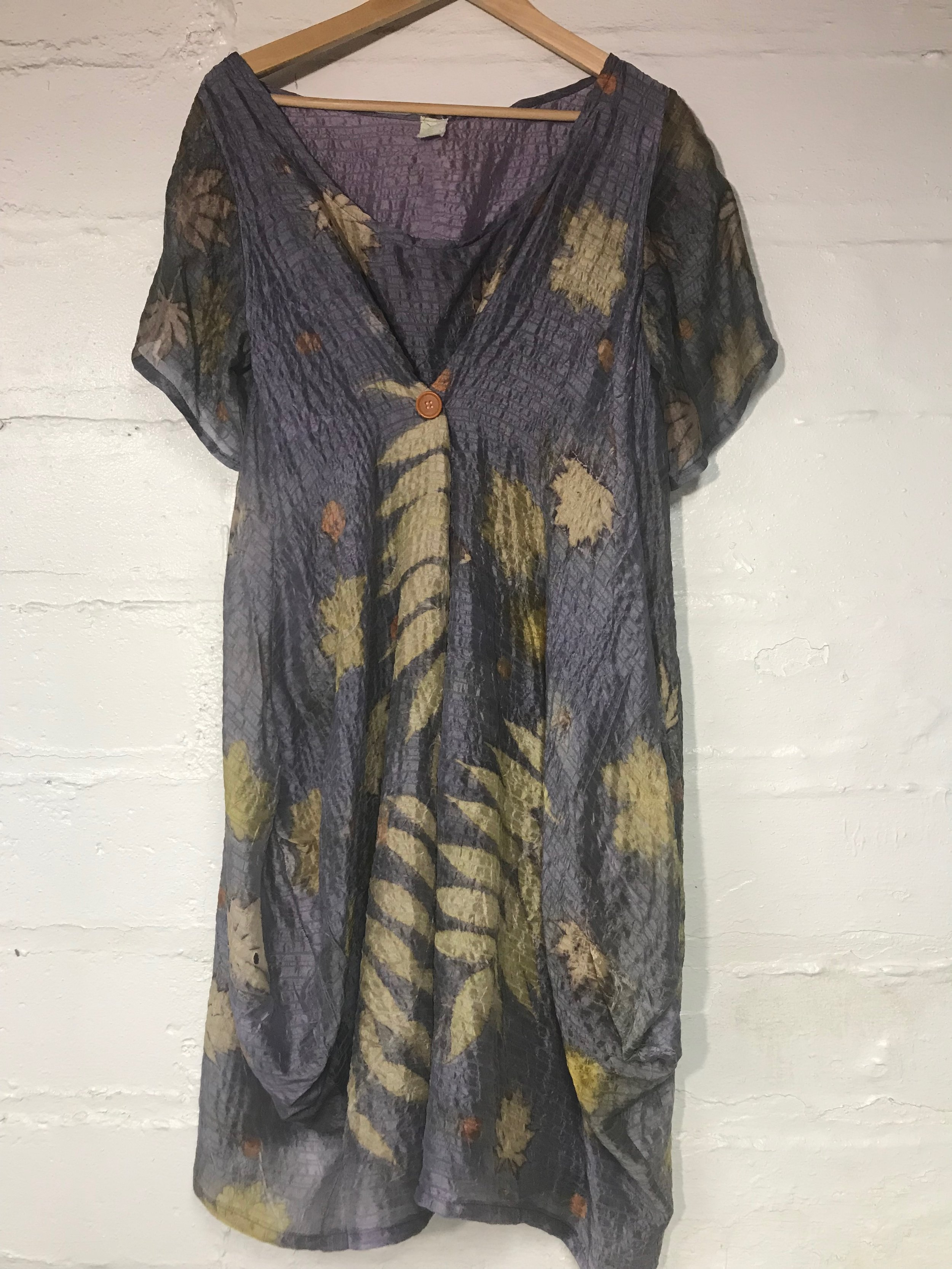 Silk dyed in logwood and printed with  various local leaves.