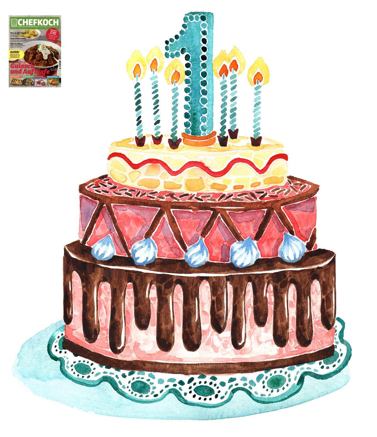 Happy Birthday, Chefkoch Magazine! For its first anniversary, I illustrated a Birthday Cake and balloons!