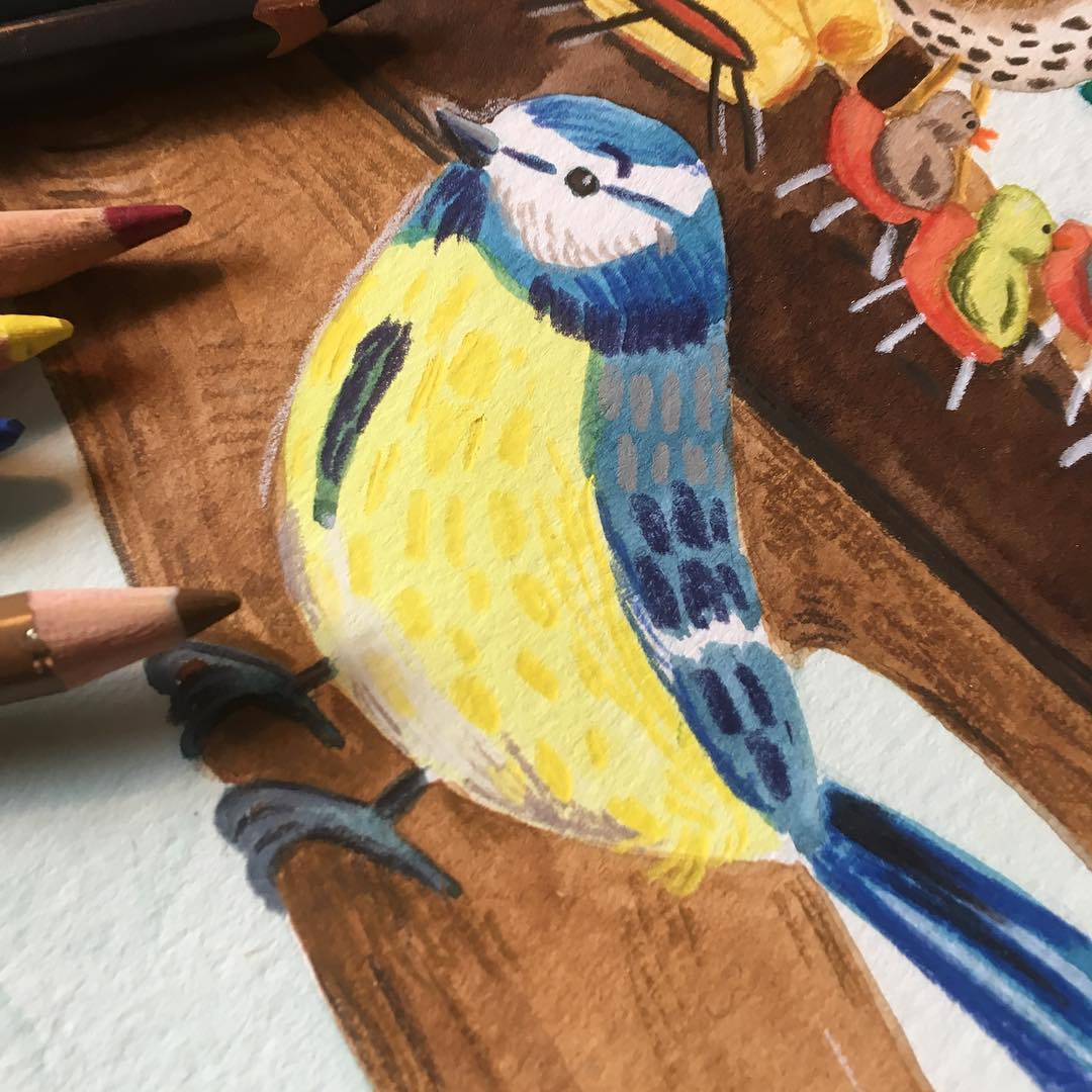 Anne Quadflieg Illustration Work in Progress Watercolour Crayon Titmouse Meise.jpg