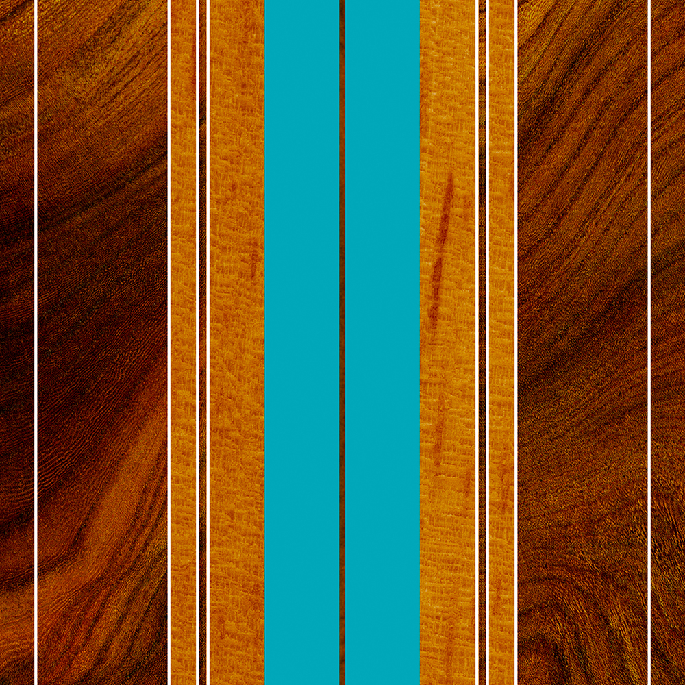 Nalu Mua Hawaiian Faux Koa Wood Surfboard - Teal