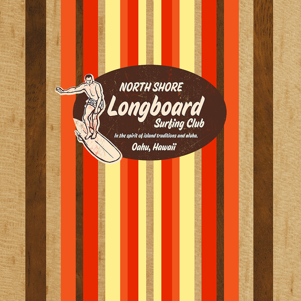Pipeline Striped Hawaiian Faux Wood Surfboard - Orange and Yellow