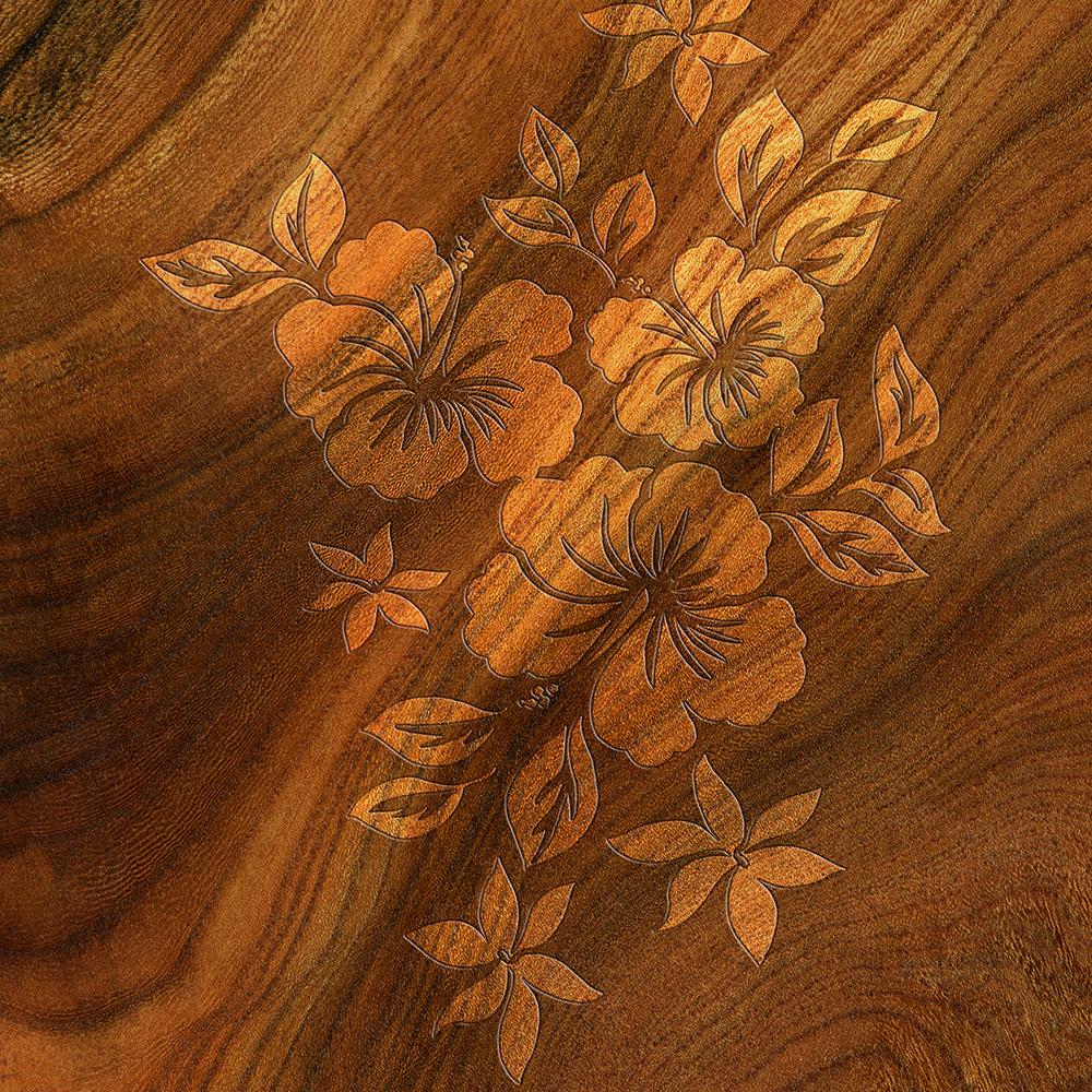 Lilikoi Hibiscus Faux Burl Wood Hawaiian Surfboard