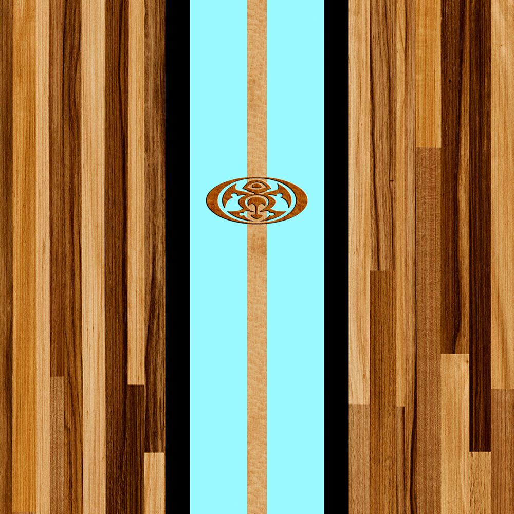 Rocky Point Hawaiian Engineered Faux Wood Surfboard - Aqua
