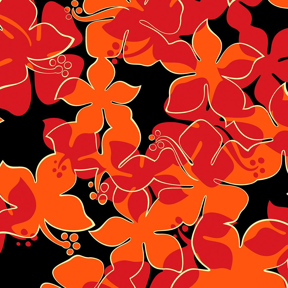 Hanalei Hawaiian Floral Camo Aloha Shirt Print - Red, Orange and Black