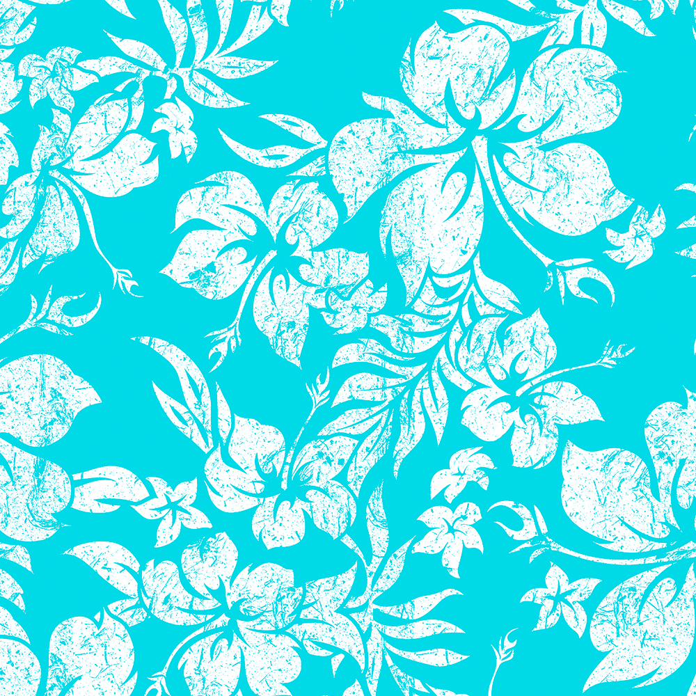 Hibiscus Pareau Hawaiian Vintage Aloha Shirt Print - Turquoise
