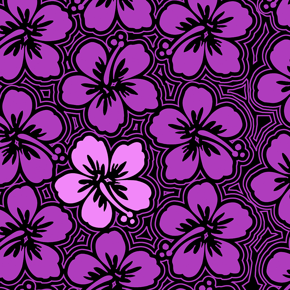 Island Hibiscus Hawaiian Floral in Violet and Black