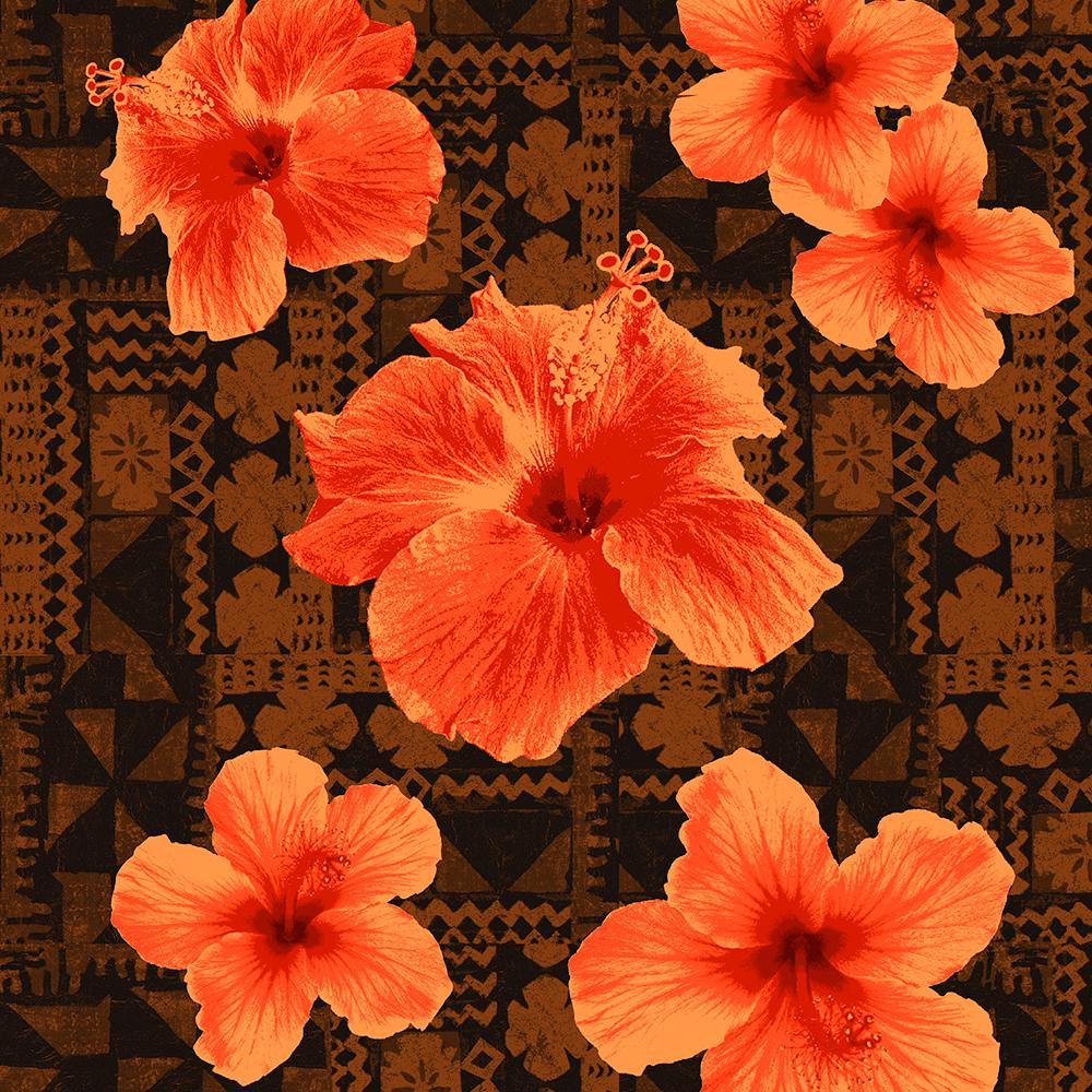 Kalalau Tapa Hawaiian Hibiscus Vintage Aloha Print - Orange on Brown