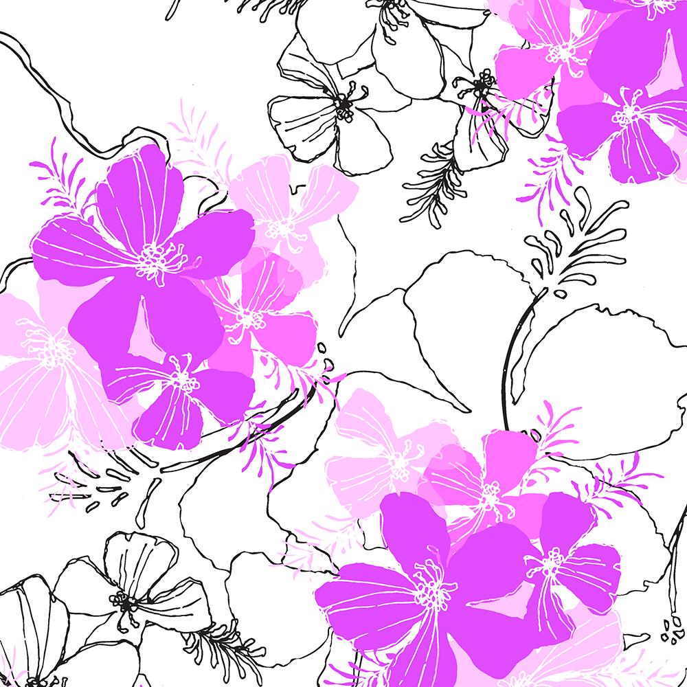 Midnight Garden Hawaiian Hibiscus Print - Violet on White