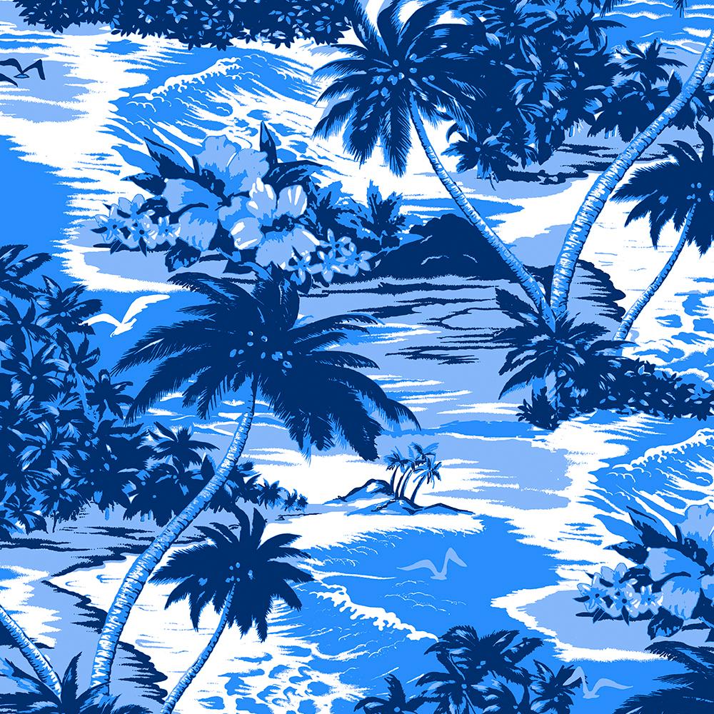 Napili Bay Scenic Hawaiian Aloha Shirt Print - Blue