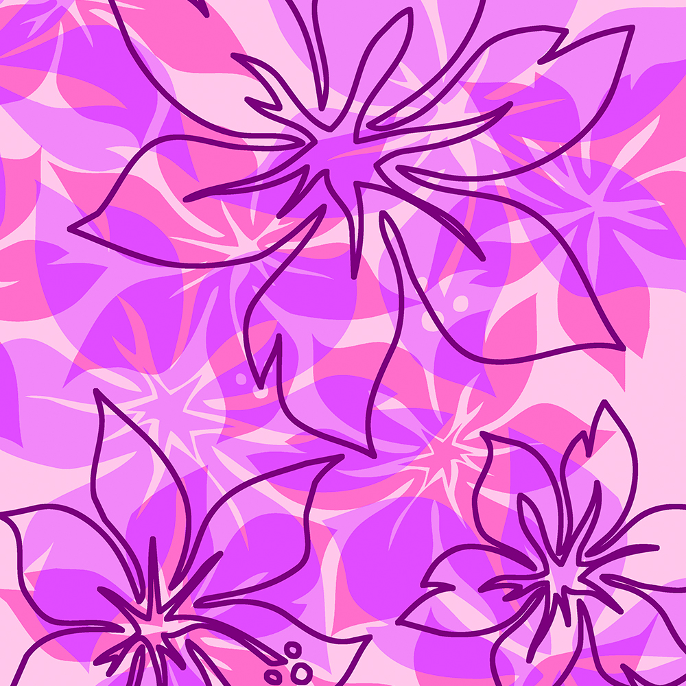 Olowalu Hawaiian Hibiscus Aloha Shirt Print- Pink and Violet