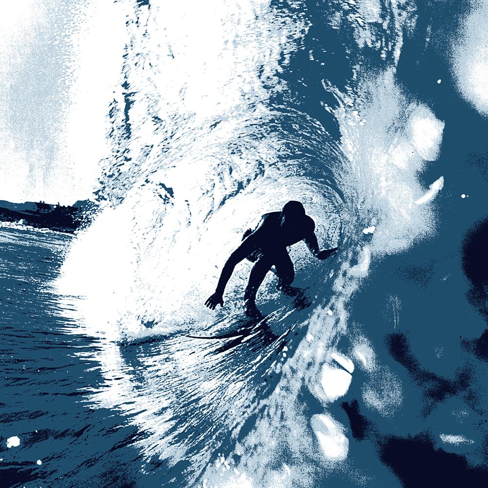 Boarding Trybe Tube, Hawaiian Surf Graphic - Navy Blue