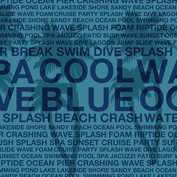 Summer Words Poolside and Hawaiian Palm Tree