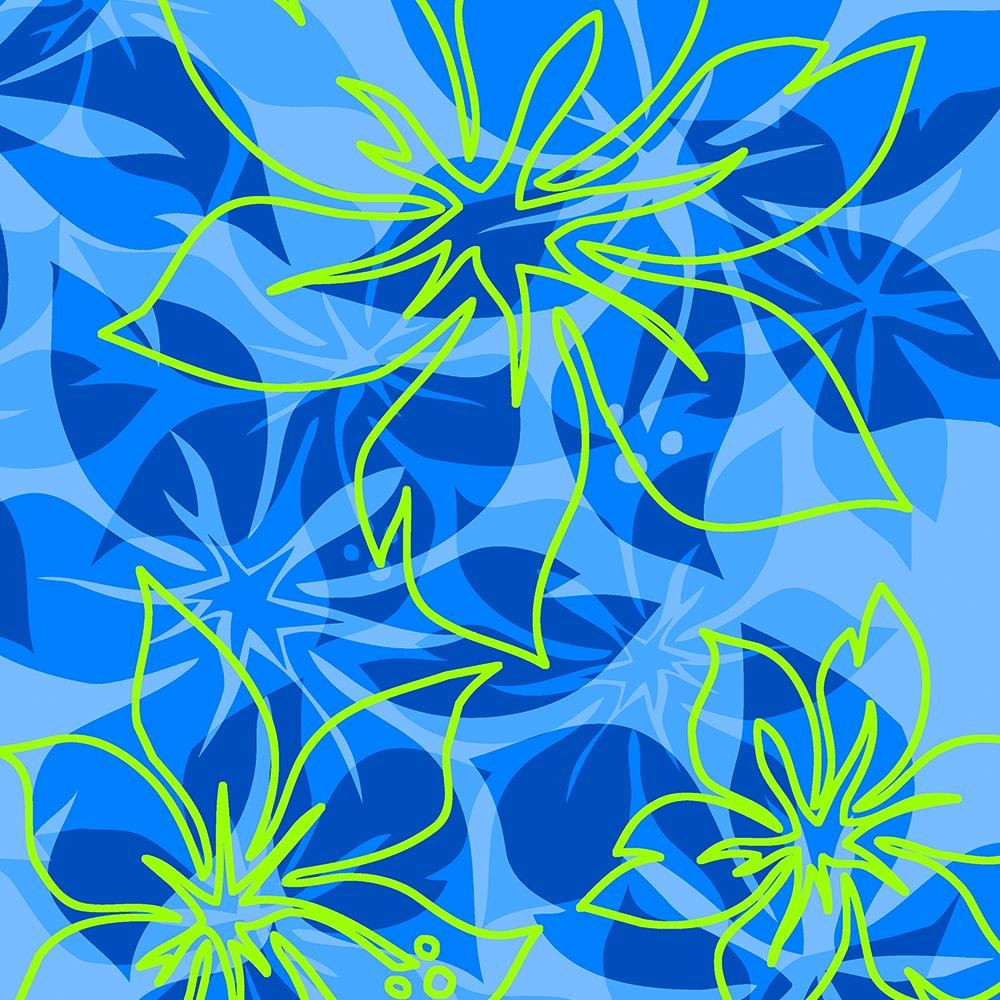 Olowalu Hawaiian Hibiscus Aloha Shirt Print- Blue and Lime