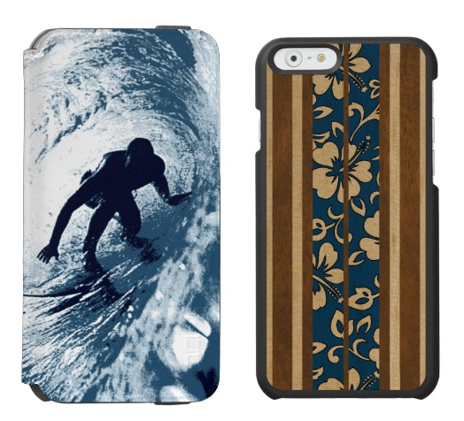 The Boarding Trybe Tube wallet case (left) is paired with the Pupukea Surfboard hard shell case.