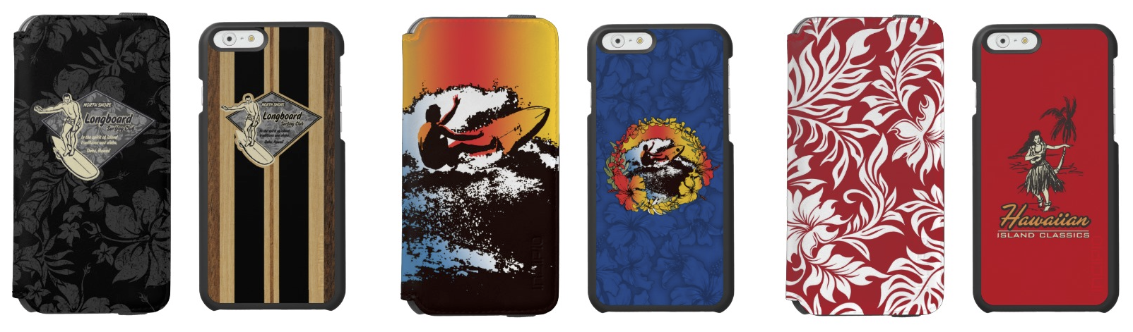 Club Surfing & Waimea, Groovy Hawaiian Surfer and Waikiki Pareau & Hula Girl Duo Cases