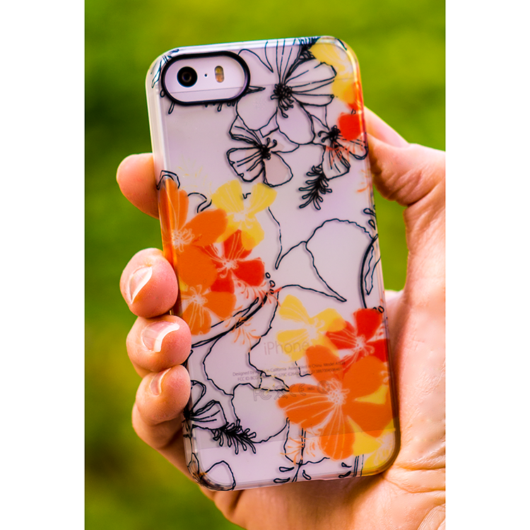 Midnight Garden Case in Papaya and Lemon shown on the iPhone 5s.