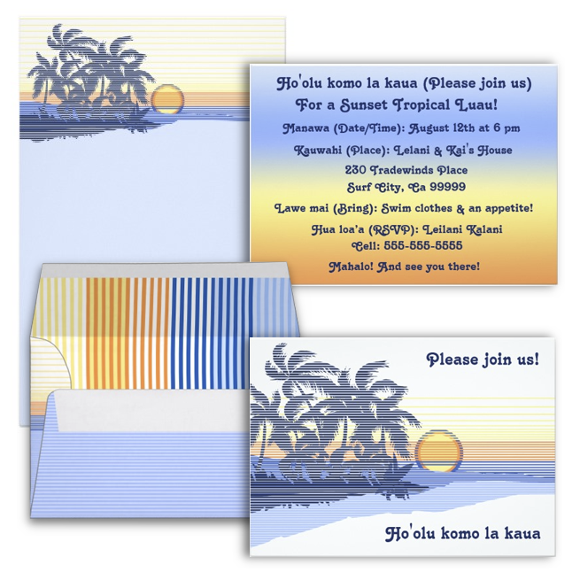 Surf & Hawaiian Cards & invites