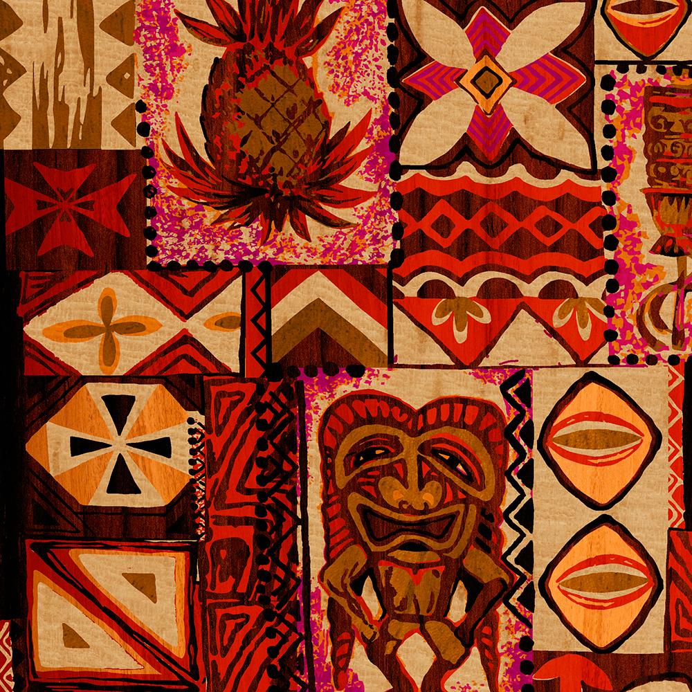 Pomaika'i Tiki Hawaiian Vintage Tapa Faux Wood Case