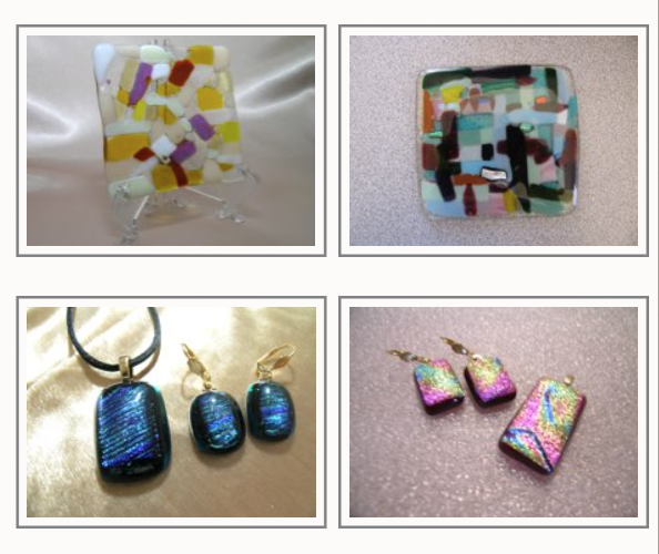 Top - examples of flat tiles     Bottom - jewelry set examples