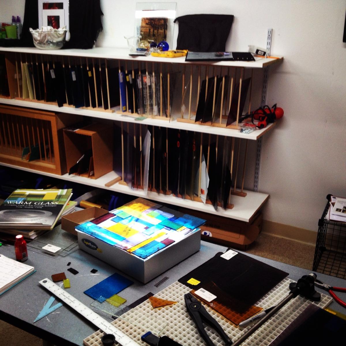 A glimpse into Laura McCracken's home fused glass studio.