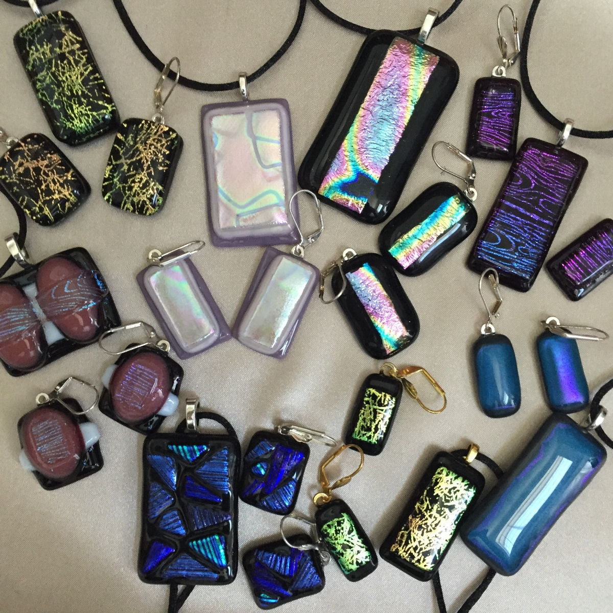 Fused glass Earring and Pendant Jewelry Sets