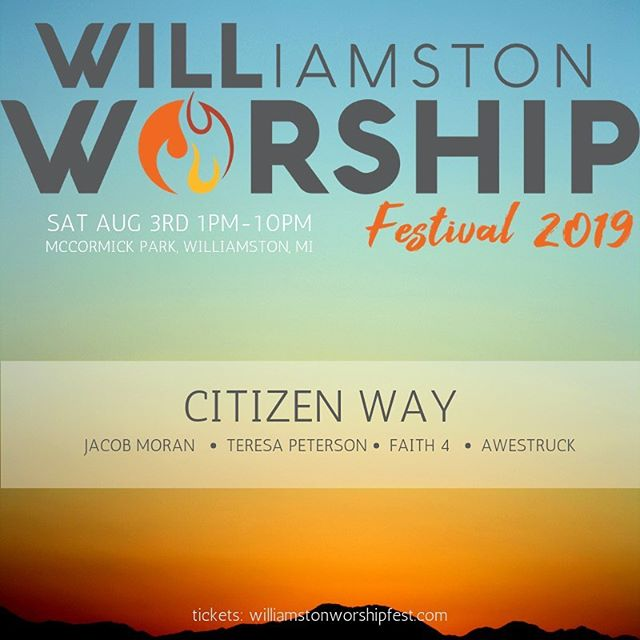 🌟WORSHIP FEST🌟 Getting really excited to share the stage with @citizenway for the Williamston Worship Festival on 8/3! A fun-filled day for the family for surrrre. 😎 (I heard there's going to be a rock wall annnnnd bouncy houses, so...🤸🏽‍♂️🤸🏽‍♂️🤸🏽‍♂️) More info and tickets at williamstonworshipfest.com 🌟🌟