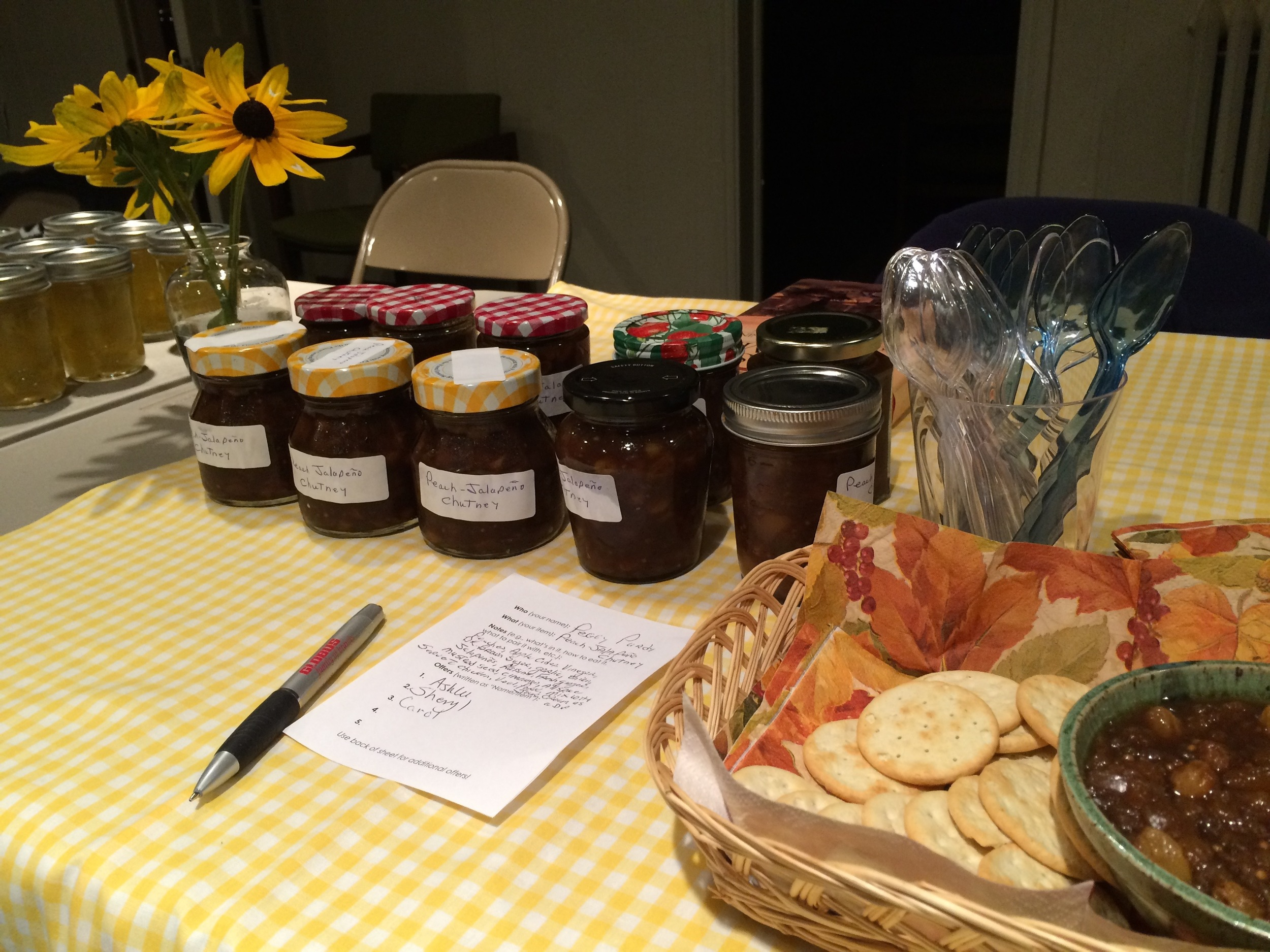 New Swapper, Peggy, had made this Peach Jalapeno Chutney long ago, and brought the recipe back out to make a batch for her Food Swap debut. We are all glad she did!