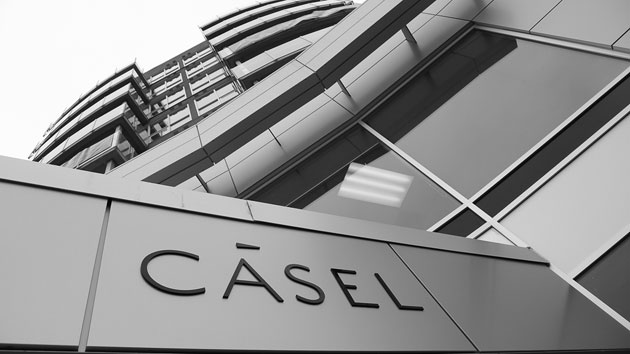 Casel building exterior sign for building logo. Raised letters cut metal and mounted onto the metal siding.