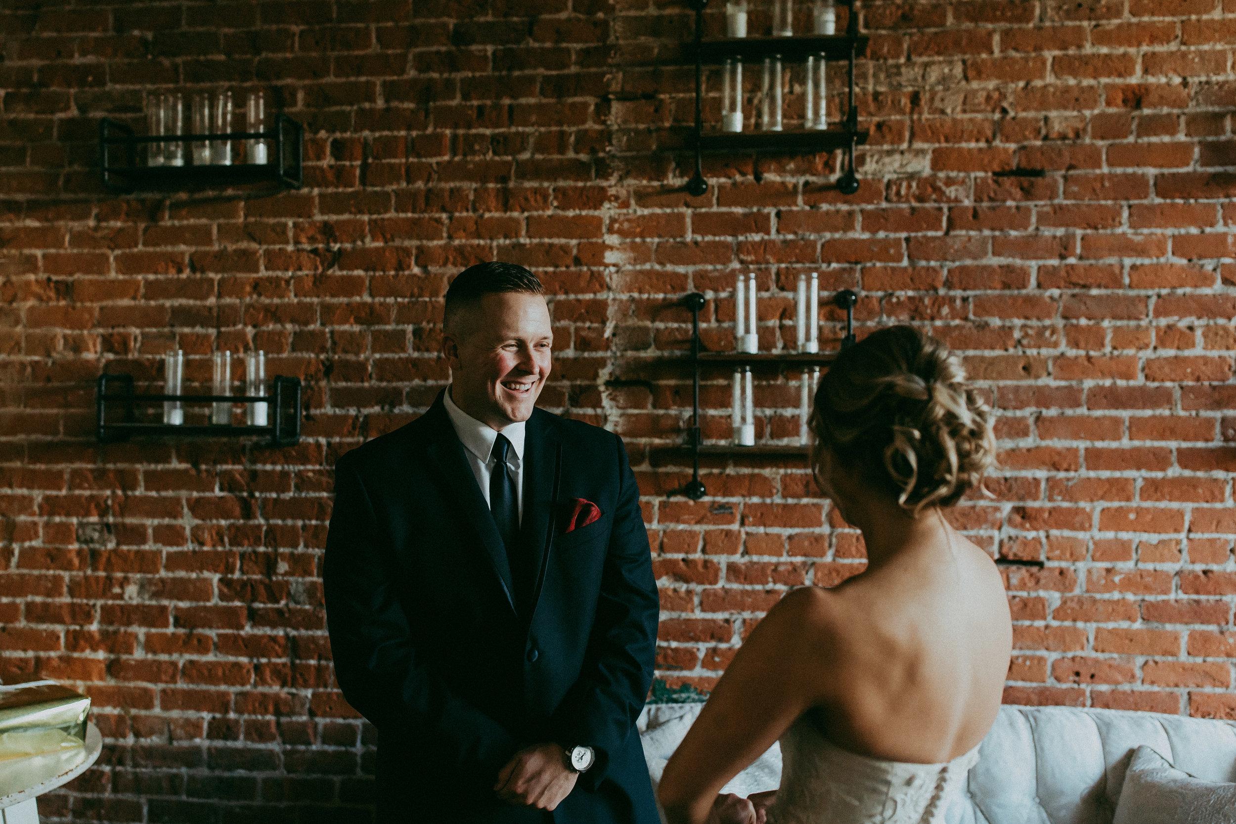 first look urban wedding