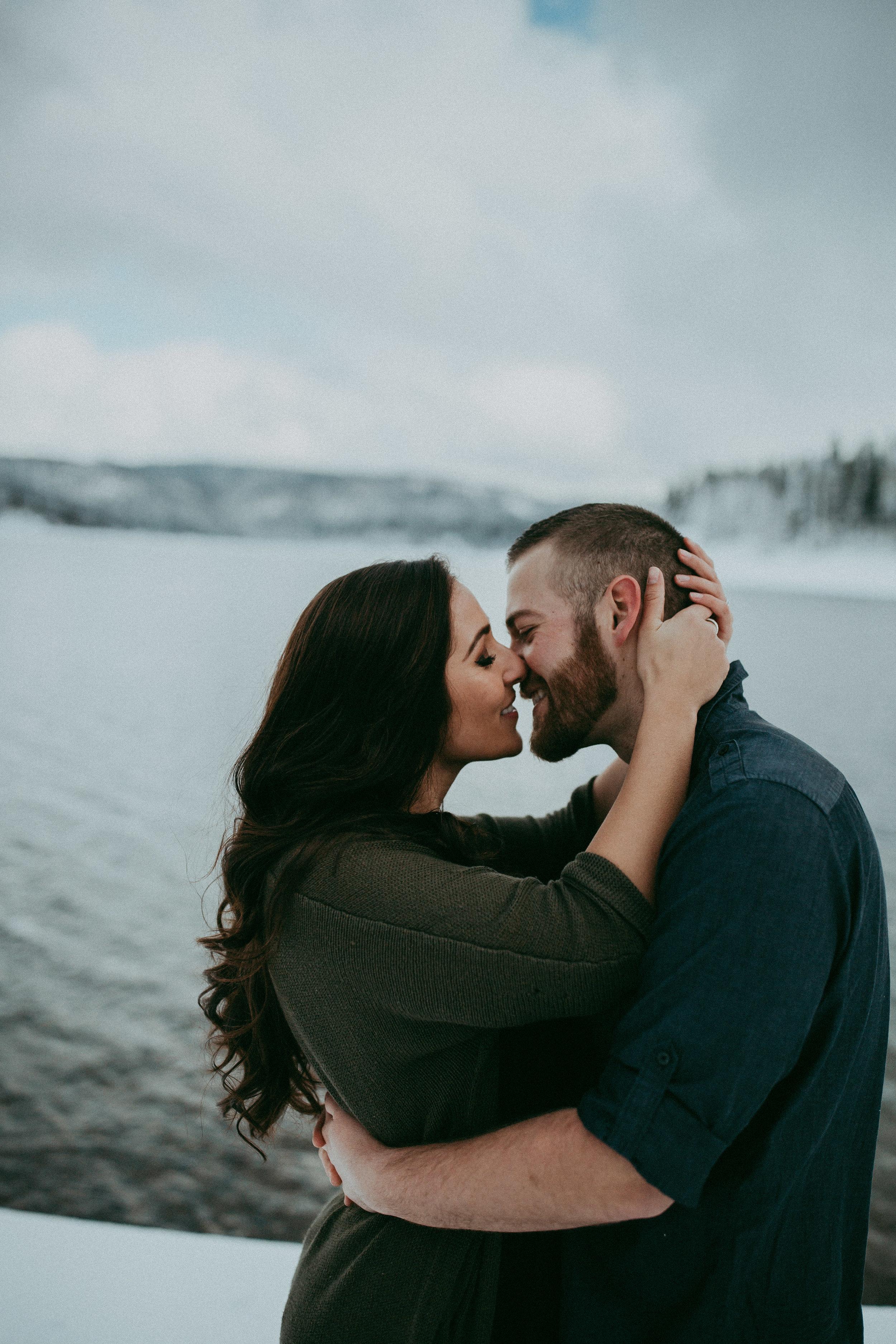 romantic snowy engagement