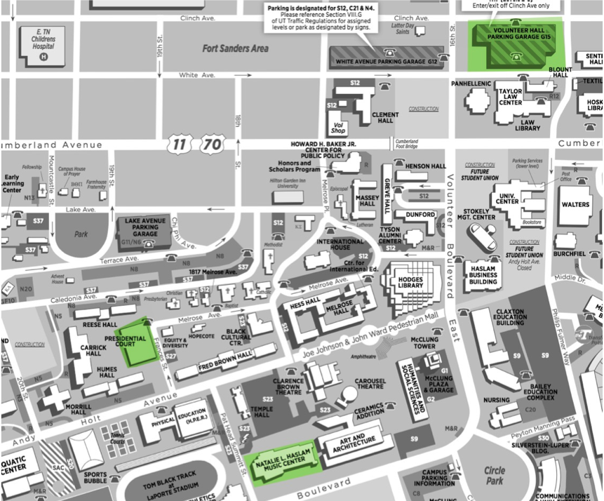 UT Knoxville map - click to enlarge