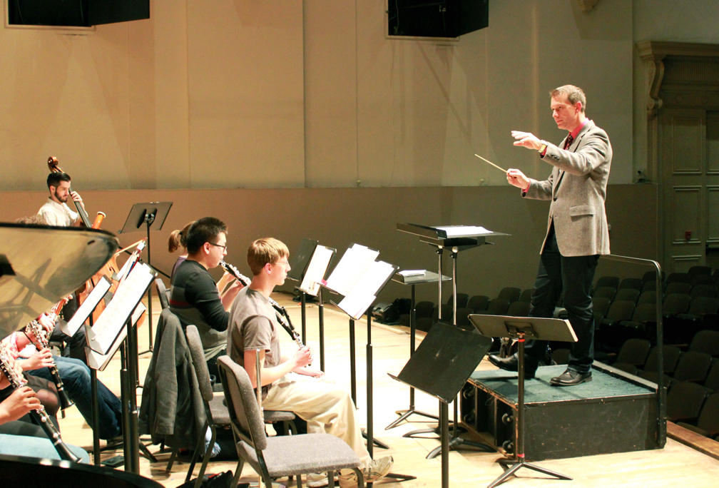Conducting rehearsal at Peabody