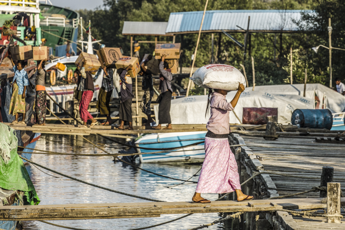 Loading the boats at Sittwe docks