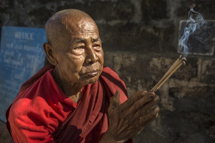 Elderly Monk,Mrauk U, Myanmar