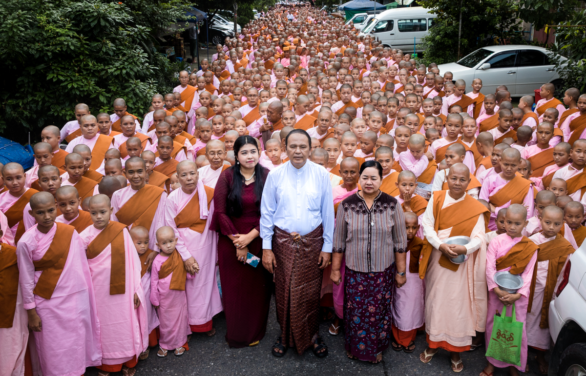 U Aung Than Sein and his daughter with thousands of nuns.