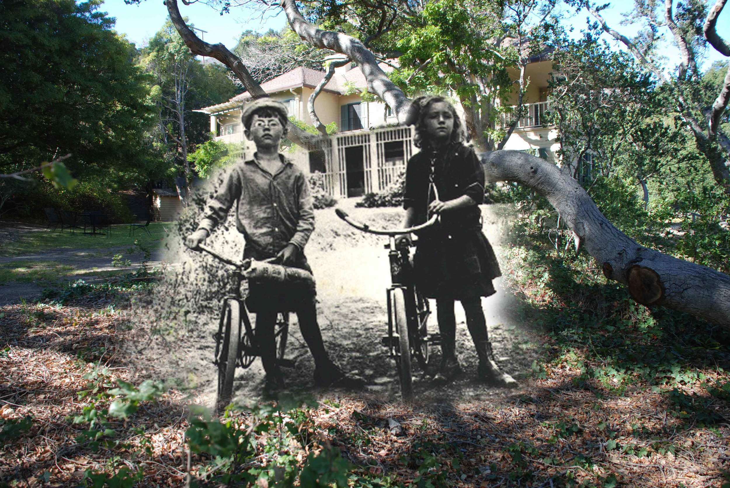 Jane and Clint Hollister, early 1900s,  in front of the Hollister House as it appears today                                               (Photo composite by Kam Jacoby)