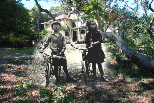 Clint and Jane Hollister, early 1900s  (composite of original photo and contemporary photo created by Kam Jacoby)