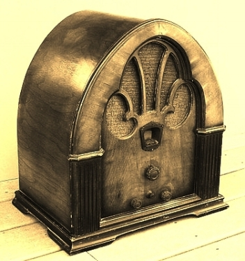 How the news arrived: a cathedral radio of the 1930s.