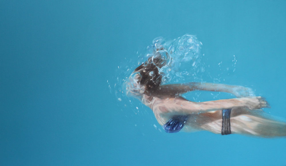 """Bikini Azul"". 70 x 120 cms. 2014. Oleo."