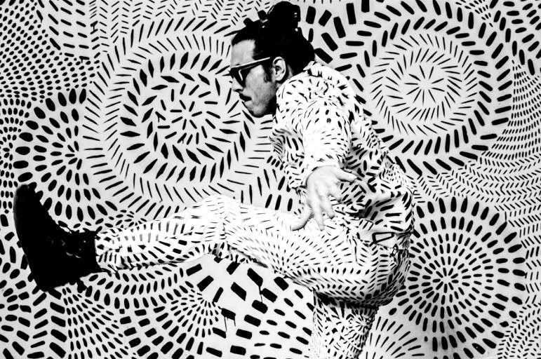 Otto von Schirach wearing the hand-painted   Milagros x Algae Limited Edition Jumpsuit.