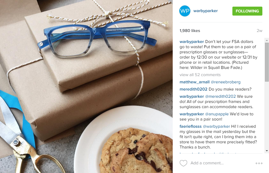 Example: Warby Parker on Instagram