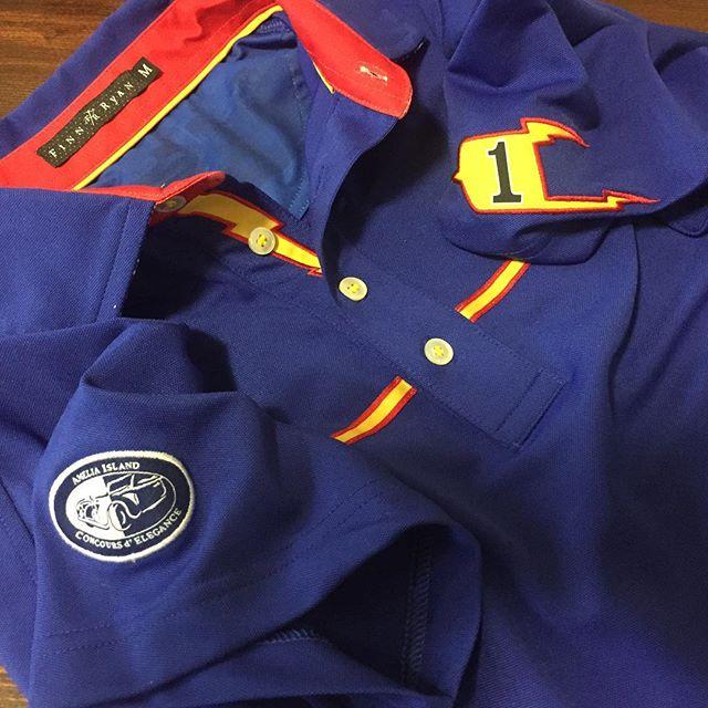 "A little more detail from the ""Johnny Lightning"" Unser shirt.  #ameliaislandconcours #finnryandesign"