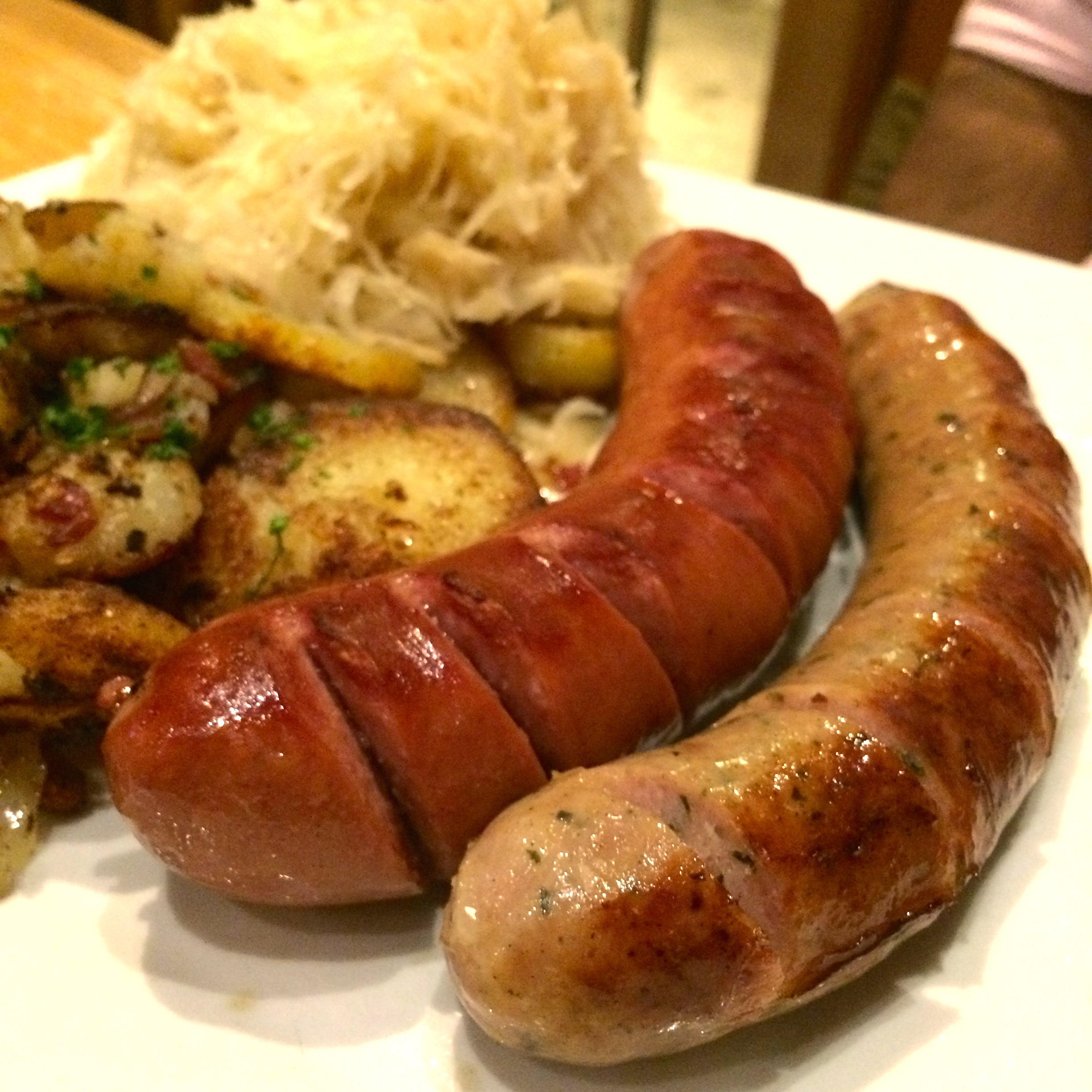 WURST PLATTE: Rattle Snake & Pork Bratwurst (lighter colored) and the Beef Smoked Bratwurst (darker colored) - $15.00