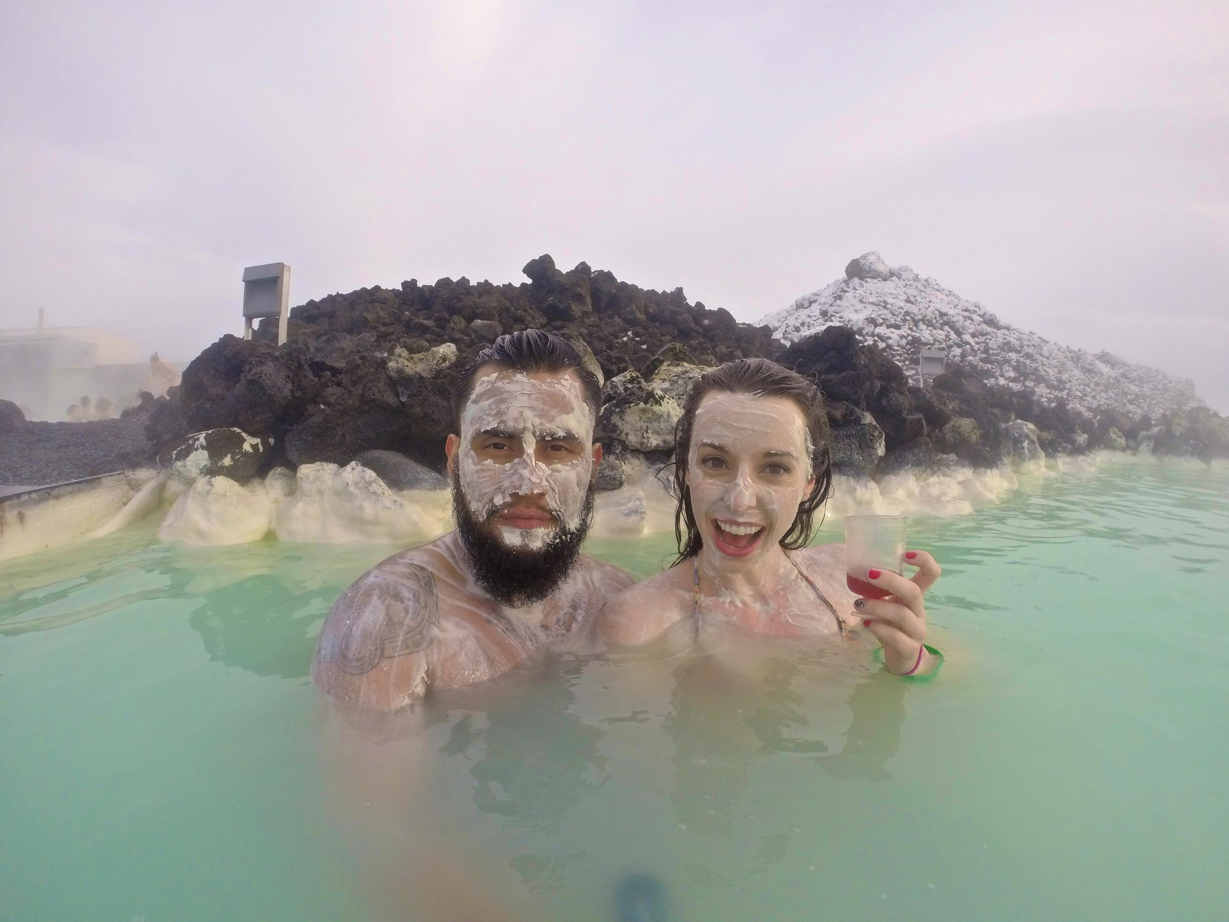 Luis & Sarah posing with the silica exfoliating mud masks.