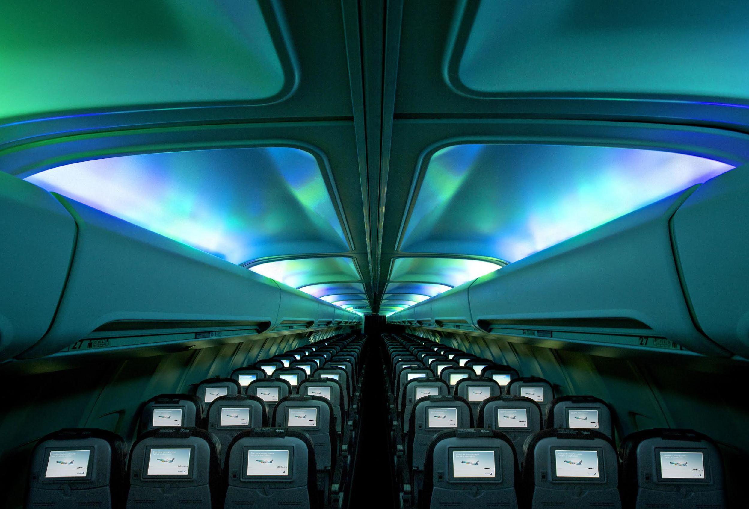 Amazing Hekla Aurora ceiling on Iceland Air plane via Iceland Air