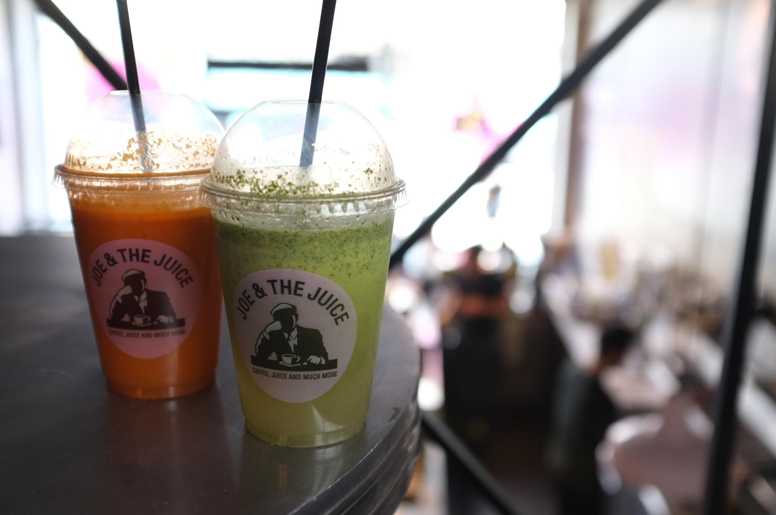 Two fresh pressed drinks via Joa & The Juice