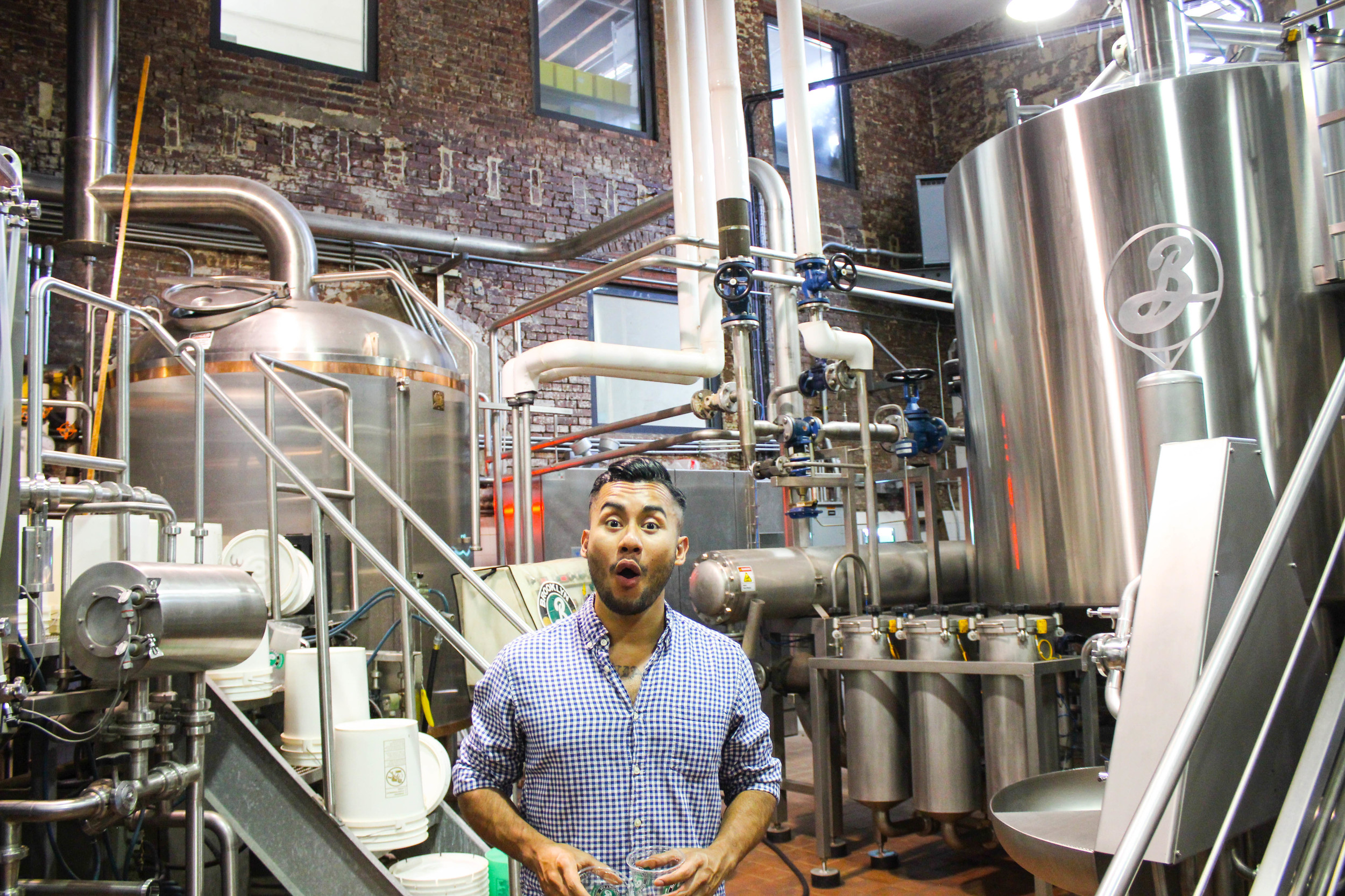 Brewing equipment at Brooklyn Brewery