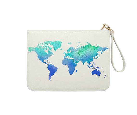 Watercolor World Map Wanderlust Travel Clutc - $24.99